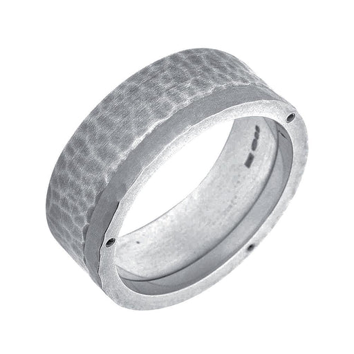 Rock Lobster Ring Silver steel edged hammered band