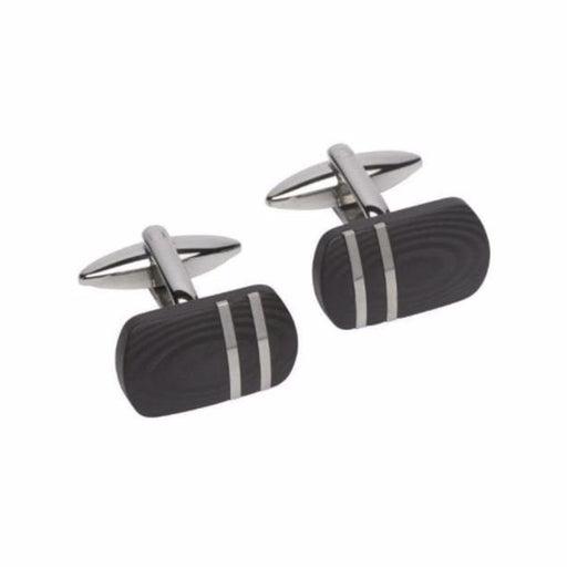 Rock Lobster Cufflinks Steel black designer striped carbon cufflinks