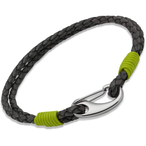 Rock Lobster Bracelet Steel black with lime Leather bracelet