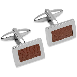Rock Lobster Cufflinks Steel brown leather rectangle cufflinks