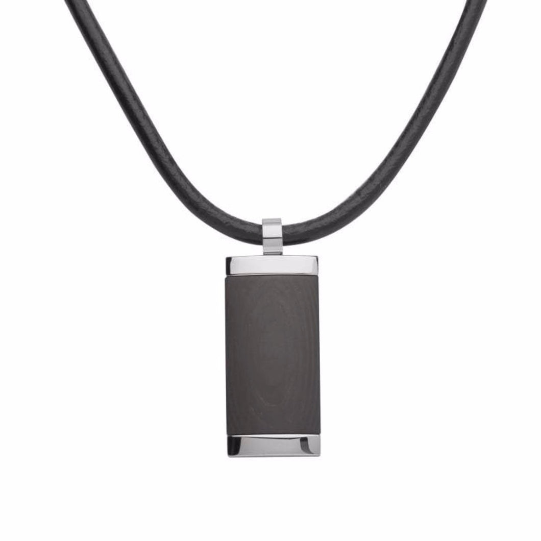 Rock Lobster Necklace Steel & carbon rectangle necklace on black leather