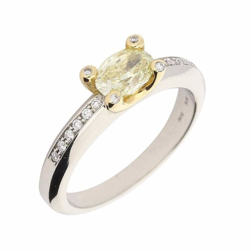 Rock Lobster Ring The matilda ring is made in platinum and set with an oval yellow diamond