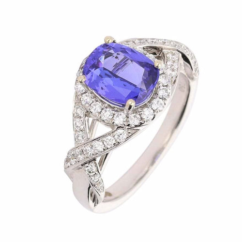 Rock Lobster Ring The pippa ring made in 18ct white gold with a tanzanite and diamond set shoulders