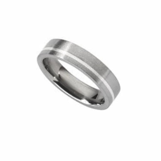 Rock Lobster Ring Titanium and Silver off set stripe Ring