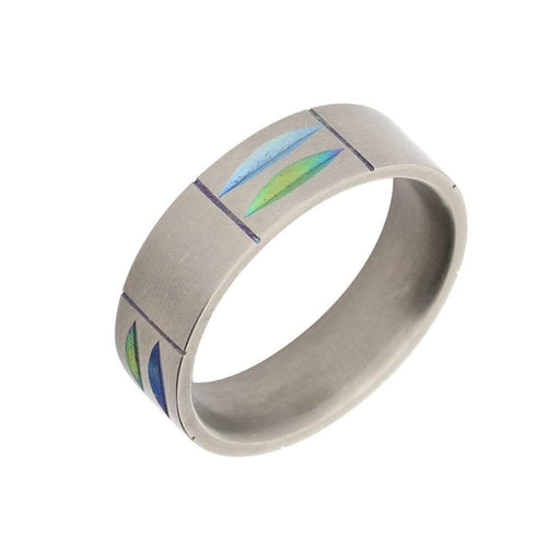 Rock Lobster Ring Titanium blue green petal band