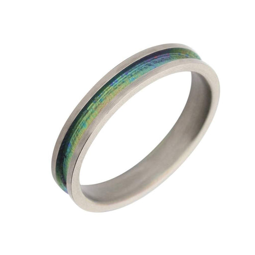 Rock Lobster Ring Titanium blue/green stripe band