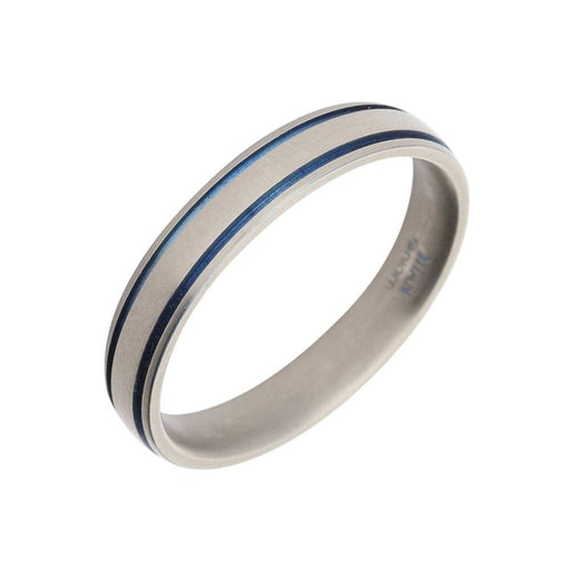 Rock Lobster Ring Titanium blue stripes band