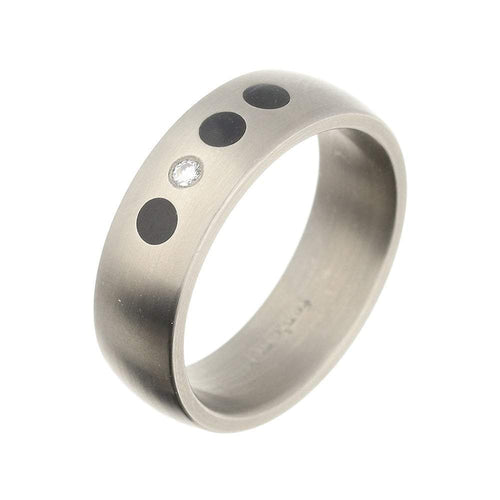 Rock Lobster Ring Titanium Diamond rubber circles court band
