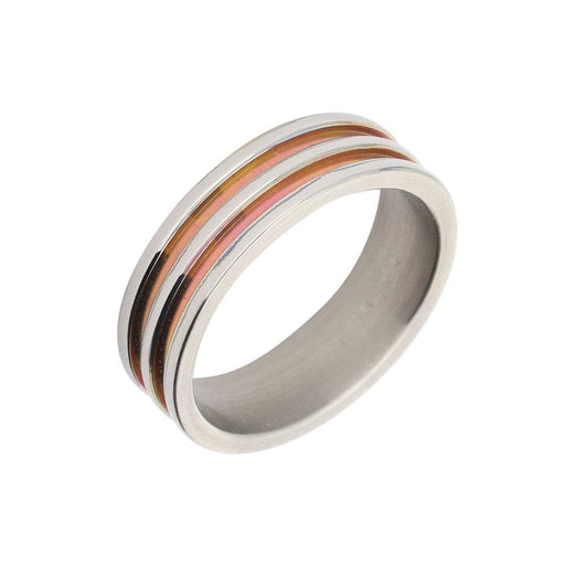 Rock Lobster Ring Titanium double pink groove band