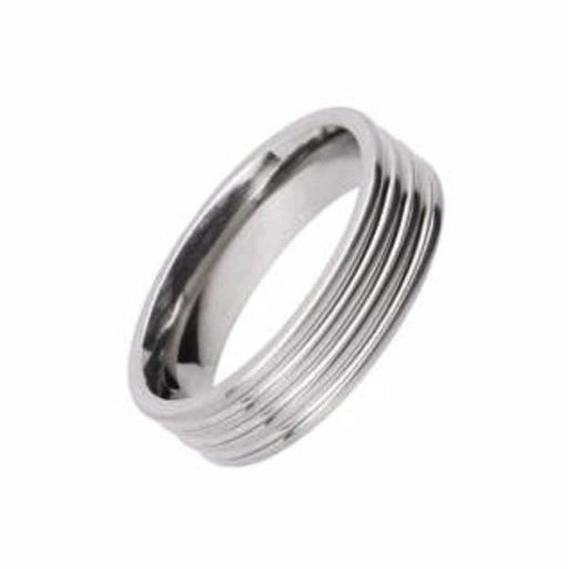 Rock Lobster Ring Titanium grooved band