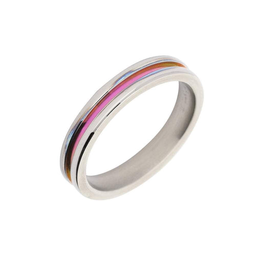 Rock Lobster Ring Titanium pink groove band