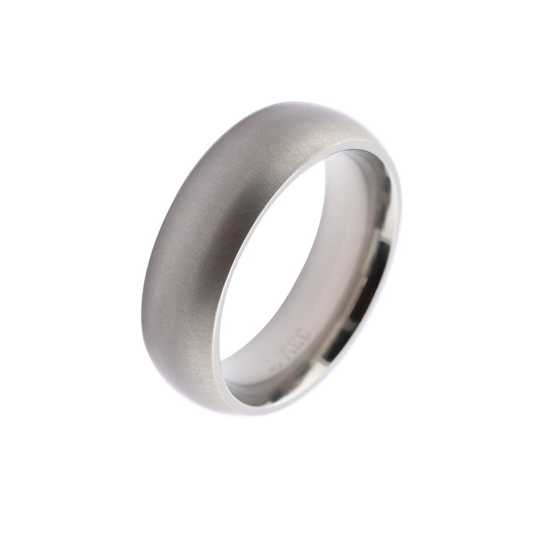 Rock Lobster Ring Titanium plain 6mm satin finish court ring