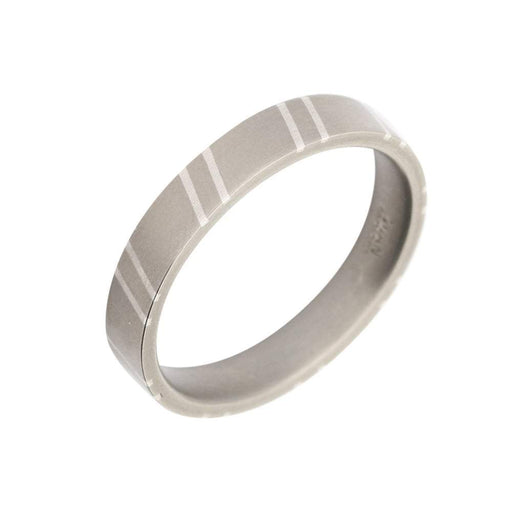 Rock Lobster Ring Titanium Silver sloping stripes band