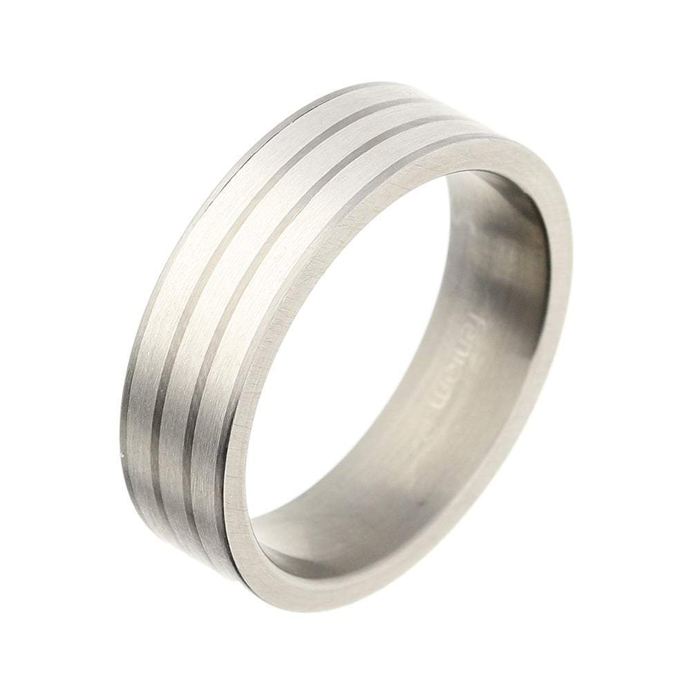 Rock Lobster Ring Titanium Silver three inlaid stripe band