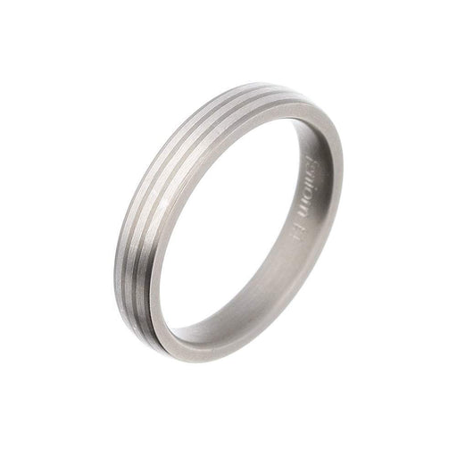 Rock Lobster Ring Titanium Silver three stripe band