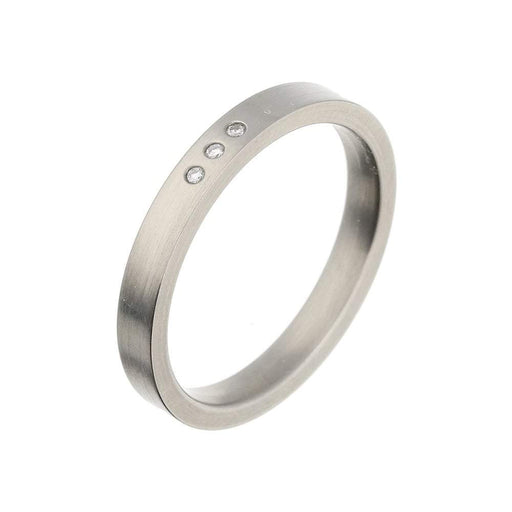 Rock Lobster Ring Titanium three diamond band