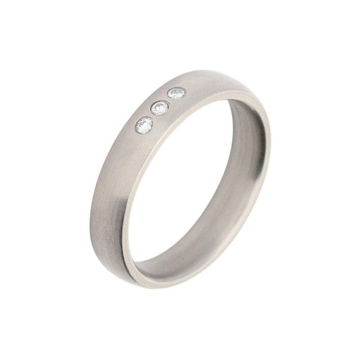 Rock Lobster Ring Titanium triple diamond court band