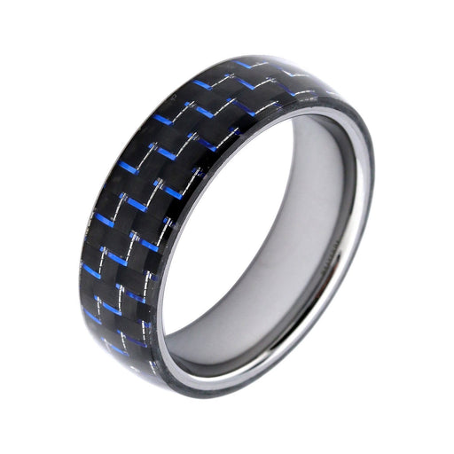 Rock Lobster Ring Tungsten Steel blue carbon ring