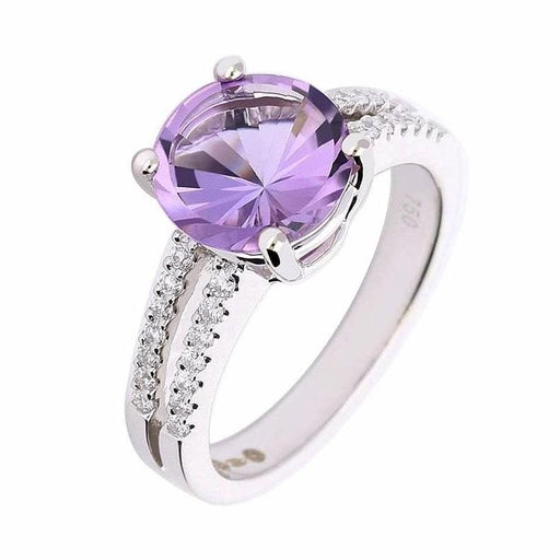 Rock Lobster Ring White gold amethyst ring with split diamond shoulders