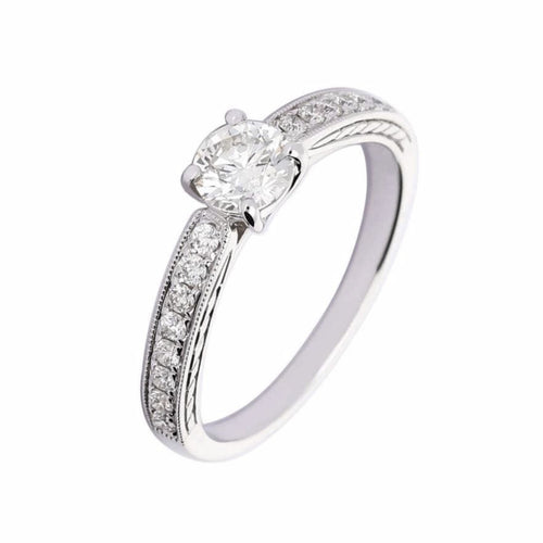 Rock Lobster Ring White gold brilliant cut diamond ring with set shoulders
