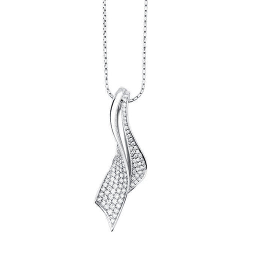 Rock Lobster Pendant White Gold diamond covered ribbon pendant