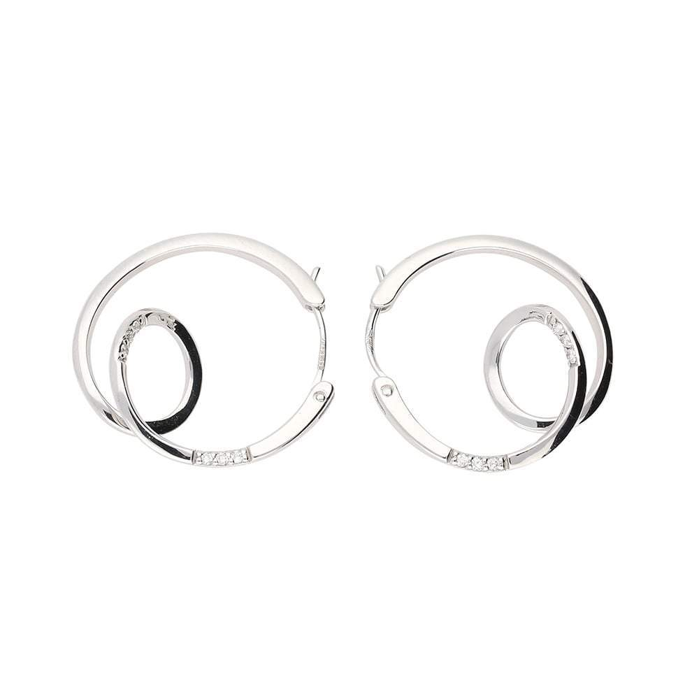 Rock Lobster Earrings White gold diamond round spiral hoop earrings