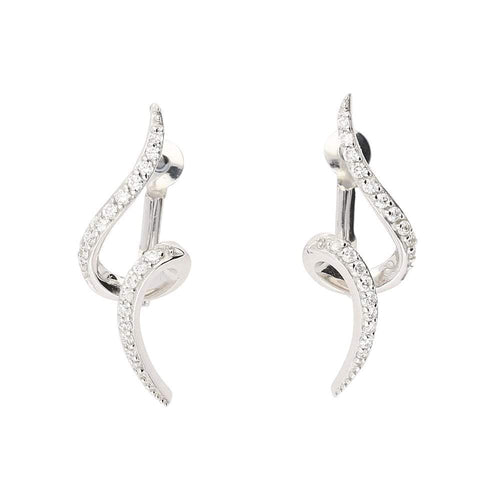 Rock Lobster Earrings White gold diamond spiral stud earrings