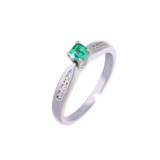 Rock Lobster Ring White gold emerald and diamond ring with set shoulders