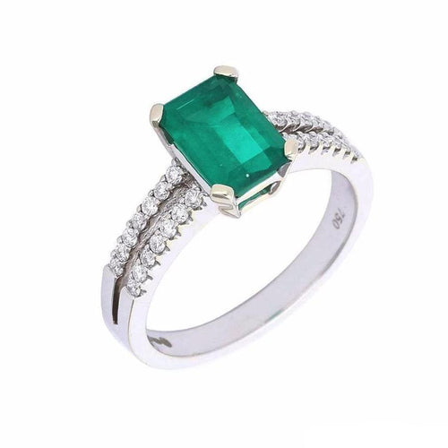 Rock Lobster Ring White gold emerald and diamond ring with split shoulders
