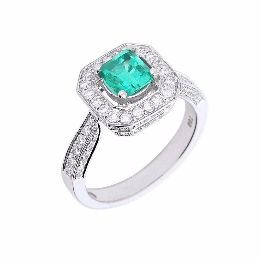 Rock Lobster Ring White gold emerald ring with diamond halo and diamond shoulders