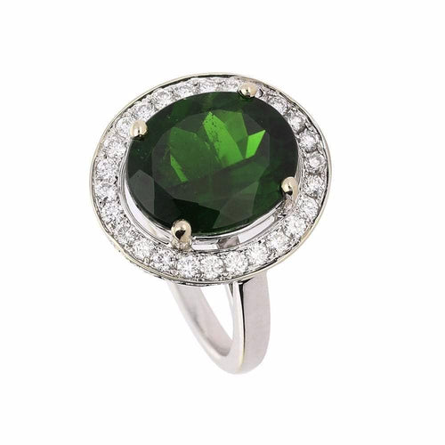 Rock Lobster Ring White gold green diopside oval stone ring  with diamond halo surround