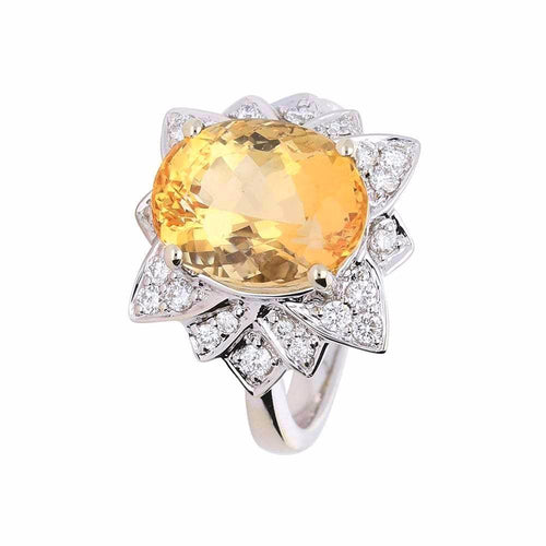 Rock Lobster Ring White gold imperial topaz ring set with a floral diamond surround