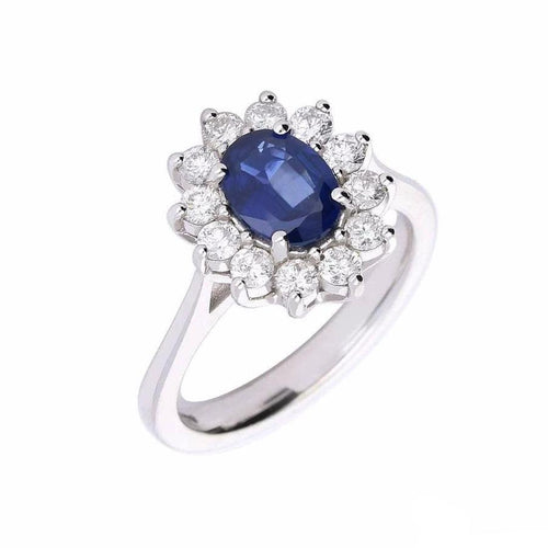 Rock Lobster Ring White gold oval blue sapphire and diamond cluster ring