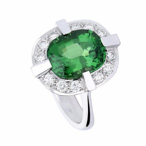 Rock Lobster Ring White gold oval green tourmaline ring with modern diamond halo