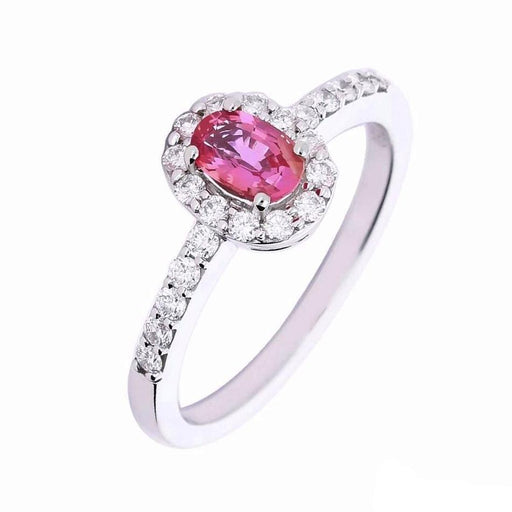 Rock Lobster Ring White gold ring set with a beautiful pink paparadsha sapphire and diamonds