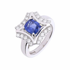 Rock Lobster Ring White gold sapphire and diamond ring with shaped halo