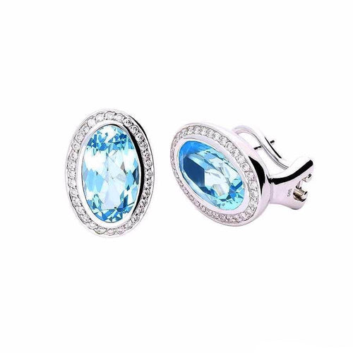 Rock Lobster Earrings White gold stud earrings with blue topaz and diamonds