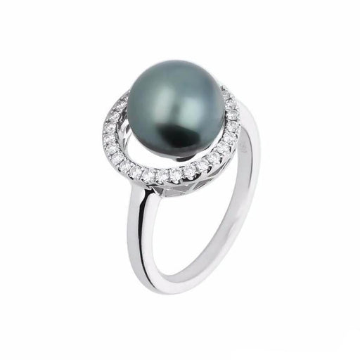 Rock Lobster Ring White gold tahitian pearl and diamond halo ring