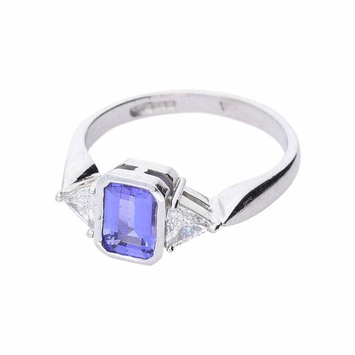 Rock Lobster Ring White gold tanzanite and diamond trilogy ring
