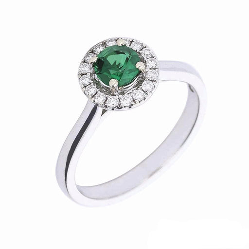 Rock Lobster Ring White gold tsavorite and diamond halo ring