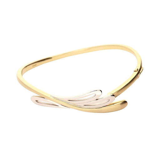 Rock Lobster Bangle Yellow and white gold organic nature bangle with hinge