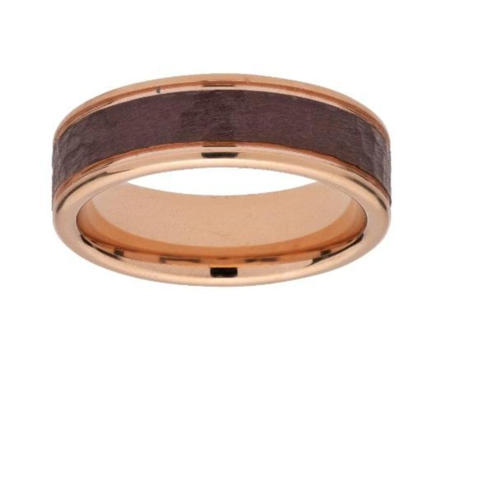 Ring Rose gold and brown hammered plated steel ring