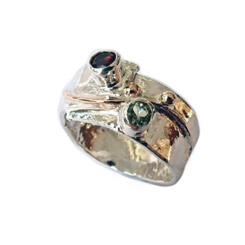 Sally Ratcliffe Ring Sally Ratcliffe Silver 9ct gold blue topaz garnet strata ring