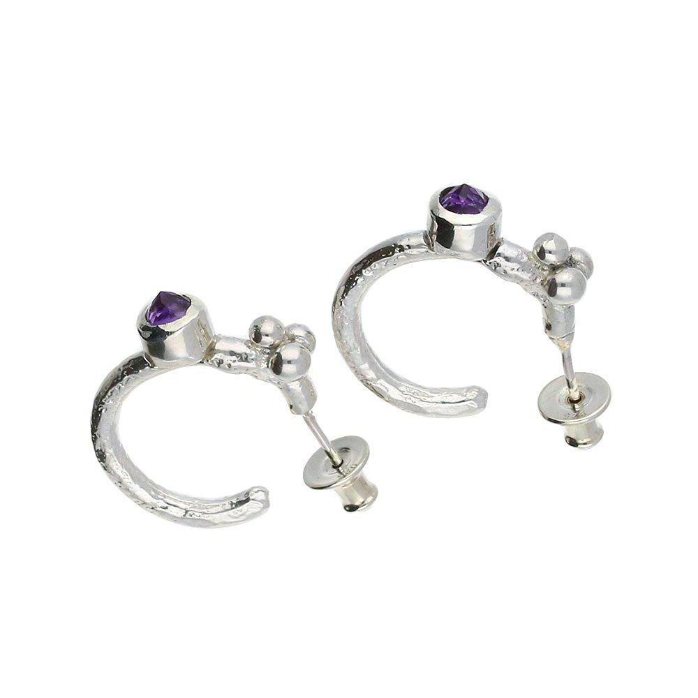 Sally Ratcliffe Earrings Sally Ratcliffe Silver Amethyst beaded hoops