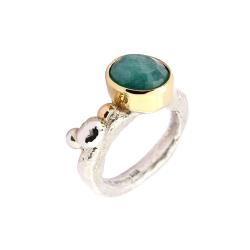 Sally Ratcliffe Ring Sally Ratcliffe Silver and yellow gold emerald pebbles ring