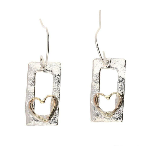 Sally Ratcliffe Earrings Sally Ratcliffe Silver framed rose gold wire heart hooks