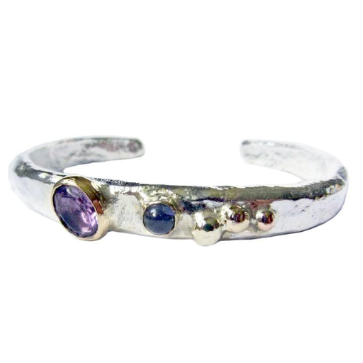 Sally Ratcliffe Bangle Sally Ratcliffe Silver gold amethyst iolite pebbles bangle