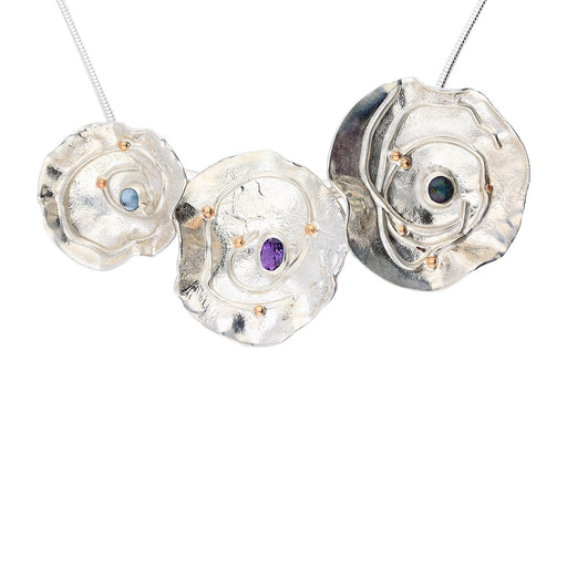 Sally Ratcliffe Necklace Sally Ratcliffe Silver rose gold gem triple seaflower necklace