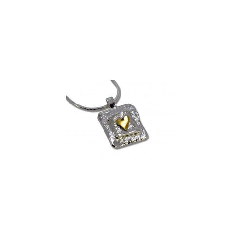 Sally Ratcliffe Pendant Sally Ratcliffe Silver square gold heart pendant