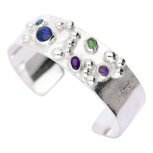 Bangle Sally Ratcliffe Silver opal amethyst and peridot rockpool torque bangle